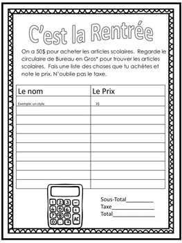 Ontario French Shopping for Back to School Authentic task