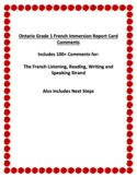 Ontario Grade 1 French Immersion Report Card Comments for