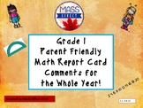 Grade 1 Math Parent Friendly Report Card Comments - All Terms