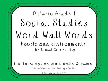 Ontario Grade 1 Social Studies Word Wall Words - The Local Community