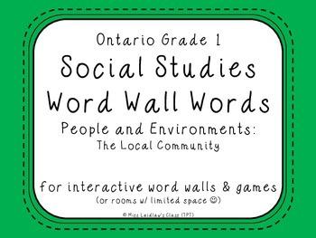 Ontario Grade 1 Social Studies Word Wall Words - The Local