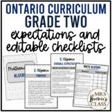 Ontario Grade 2 Curriculum Expectations Checklists EDITABLE