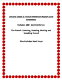 Ontario Grade 2 French Immersion Report Card Comments for