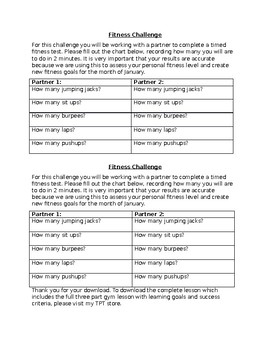 Ontario Grade 3/4 Fitness Self Assessment and Lesson (Free Printable)