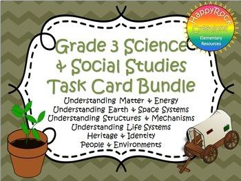 Ontario Grade 3 Social Studies and Science Task Card Bundle