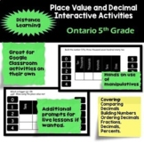 Ontario Grade 4 Place Value and Decimal Distance Learning