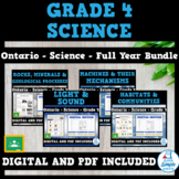 Ontario Grade 4 Science Bundle: Pulleys/Gears, Habitats, Rocks, Light/Sound