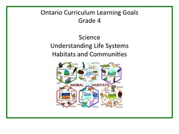 Learning Goals - Ontario Grade 4 Science - Habitats and Co