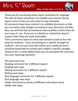 Ontario Grade 5 Editable Subject Report Comments