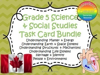 Ontario Grade 5 Social Studies and Science Task Card Bundle
