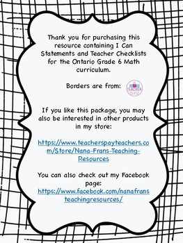 Ontario Grade 6 Mathematics I Can Statement Posters