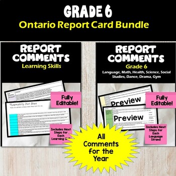 Ontario Grade 6 Report Comment Bundle