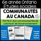 Ontario Grade 6 Social Studies:  Communities in Canada Part 2:  FRENCH Version