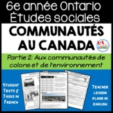 Ontario Grade 6 Social Studies:  Communities in Canada Part 2:  FRENCH Version