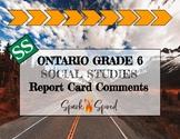 Ontario Grade 6 Social Studies Report Card Comments