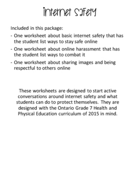Ontario Grade 7 Health Curriculum Internet Safety