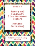Ontario Grade 7 History/Geography I Can Statement Posters