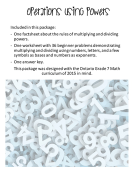 Ontario Grade 7 Math Curriculum - Operations using Powers