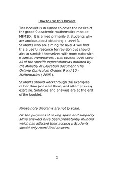 Ontario Grade 9 mathematics revision