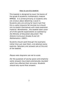 Ontario Grade 9 mathematics revision