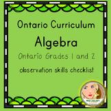 Ontario Grades 1 and 2 Algebra - Observation Skills Checklist