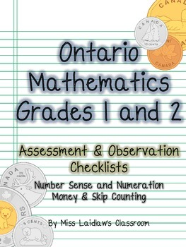 Ontario Grades 1/2 - Money + Skip Counting - Observation, Assessment Checklists