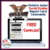 Ontario Junior Social Studies Report Card Comments | FREE Sample