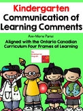 Ontario Kindergarten Communication of Learning Pack/Report Card Comments