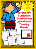 NEW Ontario Kindergarten Expectations (FDK)- Focused At A Glance Tracking Sheets