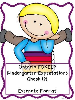 OLD Ontario Kindergarten (FDK)  Expectations Checklist - E