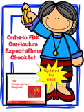 NEW Ontario Kindergarten (FDK) Curriculum Expectations Checklist