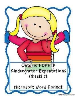 OLD Ontario Kindergarten (FDK) Expectations Checklist -Word Version