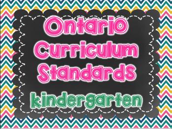 Ontario Kindergarten Standards I Can Posters & Checklist