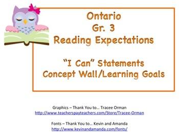 Learning Goals - Ontario Gr 3 Reading