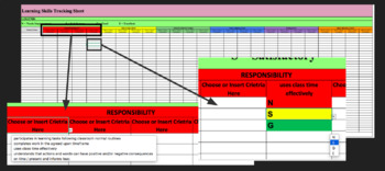 Ontario Learning Skills Digital Tracking Sheet-Criteria Embedded & Colour Coded