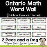 Ontario Math Word Wall Rainbow Theme
