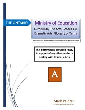 Ontario Ministry of Education: Curriculum Gr.1-8, Drama, Glossary of Terms