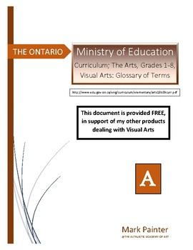 Ontario Ministry of Education: Curriculum Gr.1-8, Visual Arts, Glossary of Terms