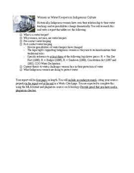 Ontario NBE3U FNMI Women as Water Keepers report