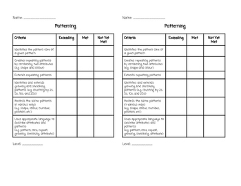 Ontario Patterning Rubric