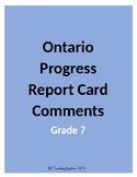 Ontario Progress Report Card Comments - Grade 7