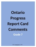 Ontario Progress Report Card Comments (Grade 7)
