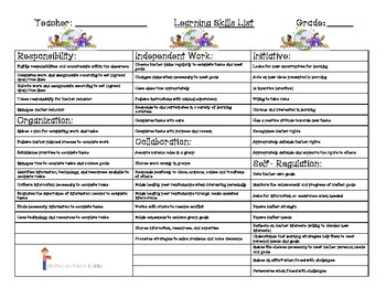 Ontario Progress and Report Card Extensive Learning Skills List