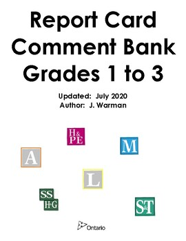 Ontario Report Card Comment Bank ~ Grades 1, 2 & 3
