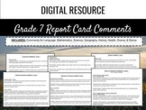 Ontario Report Card Comments - Grade 7 (Editable)