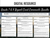 Ontario Report Card Comments - Grade 7 and 8 (Editable)