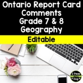 Ontario Report Card Comments Grade 7 and 8 Geography