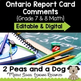 Ontario Report Card Comments Grade 7 and 8 Math