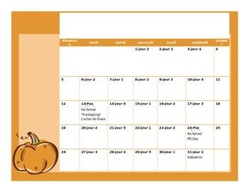 Ontario School Year Calendar en Français 2014-2015