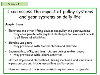 Ontario - Science - Grade 4 - Pulleys and Gears - Learning Goals